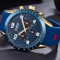 novo quartzo quartzo venda por atacado-2017 new curren marca de luxo homens relógios esportivos de silicone dos homens de quartzo militar do exército relógios de pulso, sub-dial decoração relogio masculino mx190724