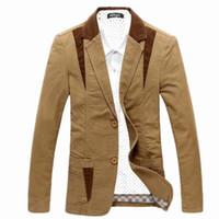 blazer for dress toptan satış-2019 Yeni Lüks Erkekler Pamuk Takım Elbise Elbise Blazer Slim Fit Erkek Erkekler için Blaser Masculino Ceket Düğün Blazer Düzenli Artı Boyutu