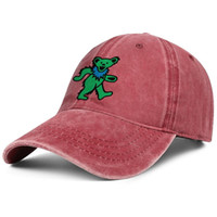Wholesale cute baseball caps for women resale online - Grateful dead bear green red denim hat for men and women denim cap trucker cap baseball design custom cute hats