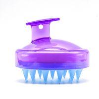 kafa masaj tarağı toptan satış-Saç Derisine Masaj Şampuan Fırça Saç Yıkama Tarak Silikon Kafa Masaj Derisi Şampuan Duş Fırça Banyo Gevşeme Temizleme Fırçası Güzellik