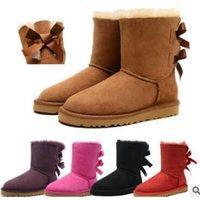 venta de botas de invierno arco al por mayor-VENTA CALIENTE Nueva moda Australia botas bajas de invierno clásicas de cuero real Bailey Bowknot bailey arco botas de nieve para mujer