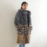 tilki yünlü palto toptan satış-Gerçek Silver Fox Kürk, doğal Fox Kürk Kadınlar Kürk Fox Yün Örgü Liner, şık Standı Yaka 2019 Qd.yishang SH190924