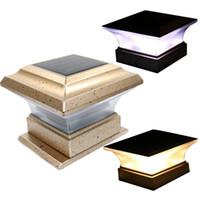 gartenleuchtenpfosten großhandel-Solar Zaun Lampe Landschaft Licht Garten Post Kappe Lampe 28 LEDs im Freien wasserdichte Pfad Deck Square Decor Nachtlampe