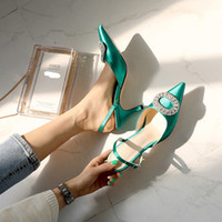 Wholesale cool new sandals resale online - Summer new stiletto pointed high heel rhinestone buckle sandals Satin Korean version of the wild Baotou female cool shoes T200111