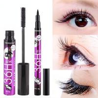 crayon pour les yeux épais achat en gros de-Black Mascara + Eyeliner Crayon Maquillage Fibre De Soie 2 en 1 Étendre Cils Épais Mince Curling Épais Cosmétiques Imperméables Kit GGA2221