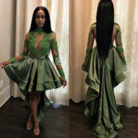 Wholesale long homecoming dresses hi lo resale online - African Olive Green Black Girls High Low Homecoming Dresses Illusion Bodice Appliques Lace Long Sleeves Cocktail Gowns Party Dresses