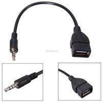 plug otg venda por atacado-Consumer Electronics New 3.5mm Macho AUX de Áudio Plug para USB 2.0 A Fêmea Jack OTG Conversor Adaptador Cablenew