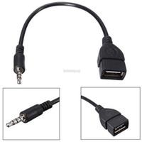 otg fişi toptan satış-Tüketici Elektroniği Yeni 3.5mm Erkek AUX Ses Tak USB 2.0 A Kadın Jack OTG Dönüştürücü Adaptör Cablenew