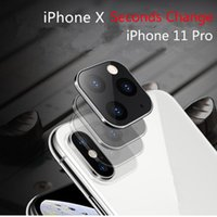 iphone schutz deckt großhandel-Schutz Ausgeglichenes Glas Sekunden ändern für iPhone 11 Pro Max-Kamera-Objektiv-Abdeckung für iPhone X XS MAX Legierung Fall rückseitige Kamera-Abdeckung