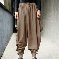 pantalon large à l'entrejambe achat en gros de-Pantalons de survêtement hommes pantalon décontracté sarouel lâche déposer entrejambe jambe large joggings pantalons été masculin style samouraï japonais recadrée pantalon en lin