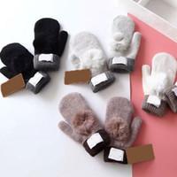 gants blancs garçons achat en gros de-Mitaines D'hiver Gants Tricotés Australie UG Gants De Ski Femmes Crochet Mitaines Couleur Unie Chaud Doux Pour Dame