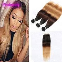 Wholesale ombre closure wefts resale online - Brazilian Virgin Hair B Ombre Human Hair Double Wefts Bundles With X4 Lace Closure Pieces
