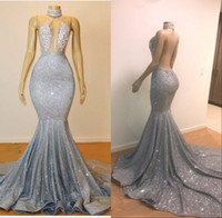 Wholesale sequined dresses online - 2019 Sexy Sheer Halter Sequins Mermaid Long Prom Dresses Tulle Beaded Lace Applique Sweep Train Backless Party Evening Dresses BC0679