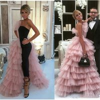 Wholesale strapless evening dresses for sale - Group buy 2019 New Fashion Jumpsuits Prom Dresses With Overskirt One Side Layered Tulle Skirt Celebrity Evening Gowns Women Formal Wear Party Dress