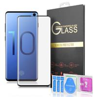 samsung edge cases al por mayor-S10 Nota 11 3D curvo de vidrio templado Protector de pantalla para Samsung Galaxy Lite Plus S10 S9 S8 NOTA 9 Caso Friendly [huellas dactilares Soporte]
