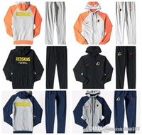 ingrosso vestiti blu pieni bianchi-Washington Redskins Uomo Full Zip Sportswear Tuta sportiva da uomo Tuta Plus tuta blu Frassino nero Splicing bianco arancio