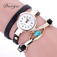 relojes de pulsera de piedras preciosas al por mayor-Duoya Brand Watch Women Luxury Gold Eye Gemstone Dress Relojes Mujer Pulsera de oro Regalo de Halloween Relojes de pulsera de cuarzo de cuero