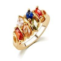 farbe pops ring großhandel-Pop-Dur Hot4U einzigartige Design Rose Goldfarbe Mona Lisa Ring für weibliche Hochzeit Bunte KubikZircon Freies Verschiffen