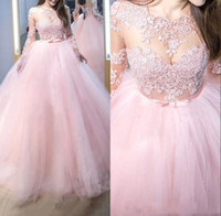 Wholesale dresses made sweets resale online - Light Pink Sheer Neck Lace Appliqued Quinceanera Dresses Tulle Floor Length Puffy A Line sweet Prom Party Dress Custom Made
