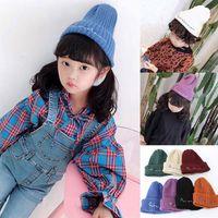 Wholesale kid crochet hat resale online - Kids Knitted Hats Baby Winter Knitted Hats Warm Trendy Beanies Crochet Caps Outdoor Hats styles RRA1720