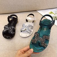 Wholesale children green princess shoes for sale - Group buy Girls Princess shoes summer new soft bottom toe sandals fashion little girl children beach shoes baby