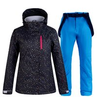 women s thermal sets 도매-여성 스키 복 열 스키 자켓 바지 세트 방풍 방수 스노우 보드 자켓 겨울 여성 스키 스노우 코트 정장