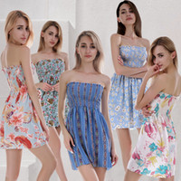 Wholesale asymmetrical dress flared skirt online - women flower print mini dress Strapless Mini Dress Print Ladies Top Summer Women Casual Elastic pleated skirt LJJK1217