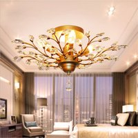 pendelleuchte baum großhandel-Vintage American K9 Kristall Kronleuchter Beleuchtung Deckenleuchte Ast Pendelleuchte Leuchte für Restaurant Wohnzimmer Hotel