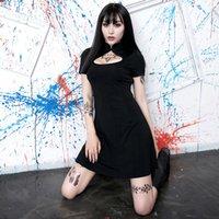 ko großhandel-Chinese Sommerkleid Frauen Gothic Punk Cheongsam Bodycon Party Night-Kleid reizvolle hohle Strand Boho Kleider Harajuku Sundress