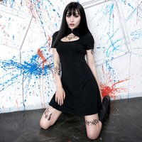 robe de nuit sexy chinoise achat en gros de-Robe d'été Femmes chinoises Gothique Punk cheongsam bodycon Party Dress Sexy creux nuit plage Boho Robes Harajuku Sundress