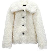 beyaz ceket kadınlar düşmek toptan satış-ABD 2019 Güz / Sonbahar Kadınlar Casual Beyaz Pembe Faux kürk Tek meme Ekstra kısa Ceket jaqueta feminina