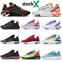 sapatos de corrida para homem 87 venda por atacado-Nike React Element 55 87 Homens mulheres tênis triplo preto vermelho Royal Tint Sail designer mens formadores sports sneakers sapato corredor