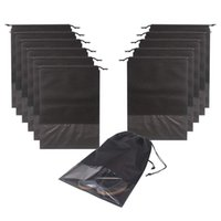 x büyük çanta toptan satış-12 ADET Seyahat Ayakkabı Çanta Su Geçirmez Dokunmamış depolama Ile Halat Erkekler ve Kadınlar Için ayakkabı kılıfı Ambalaj Organizatörler, X-Büyük, Siyah