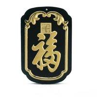 asiatischen schmucksachen 24k gold anhänger großhandel-Koraba Edlen Schmuck 24 Karat Gold Chinesische Dunkelgrüne Jade Quadrat Karte Anhänger Perlen Halskette Herrenschmuck Luxus Schmuck