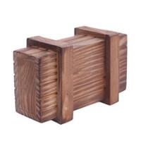 cajas mágicas de madera al por mayor-Juegos y Puzzles Divertidos juguetes de madera Puzzle Caja de compartimiento mágico Con cajón secreto Lógica Enigmática Niños Magia Truco secreto Puzzles