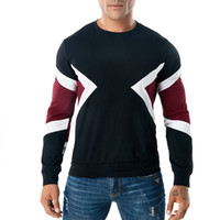 мужская футболка оптовых-Мужчины с длинным рукавом футболка геометрическая Crewneck повседневная Tee контраст цвета ребристые пуловер S-3XL Бесплатная доставка