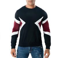 erkek t gömlek kaburga toptan satış-Erkekler Uzun Kollu T Gömlek Geometrik Crewneck Casual Tee Kontrast Renk Nervürlü Kazak S-3XL Ücretsiz Kargo