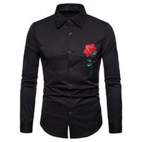 blusa bordada xl al por mayor-YOUYEDIAN 2019 Hombres Otoño Invierno Lujo Casual Bordado Dorado Camisa de manga larga Top Blusa Nueva llegada