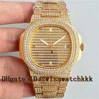 diamants super or achat en gros de-Chaude 5719 10G-010 montre de diamant Cal.324 Automatique 28800 vph Plein Diamant Or 18k Bracelet En Acier Saphir Cristal Super Résistant À L'eau