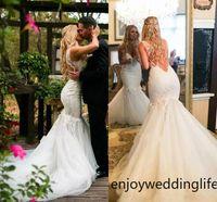 Wholesale bohemia wedding dresses resale online - New Bohemia Wedding Dresses With Lace Appliques Backless V Neck Count Train Mermaid Wedding Gowns Tulle Custom Made Beach Bridal Dress