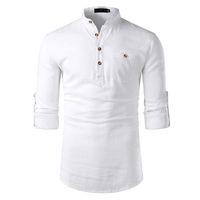 solapa de moda al por mayor-Algodón-Lino Camisas para hombre de manga larga Cuello de solapa Sólido Tops para hombre con bolsillos Moda masculina
