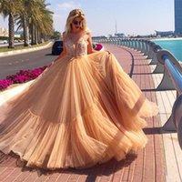 vestido de encaje lavanda alfombra roja al por mayor-2020 Lavender Evening Formal Dresses Correas espaguetis con cuentas Tulle Lace Vestido largo de baile Moda Cuello en V Banquete Red Carpet Celebrity Dress