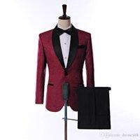 бордовый галстук пейсли оптовых-Боковая вентиляционная кнопка одна пуговица бордовый пейсли свадебные смокинги смокинги шаль лацкан жениха мужские костюмы выпускной блейзер