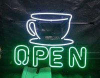 café da luz de néon venda por atacado-Café ABERTO Sinal de Néon Bar de Luz Publicidade Entretenimento Decoração de Arte de Exibição de Vidro Real Lâmpada de Armação De Metal 17 '' 24 '' 30''40 ''