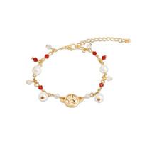 colgantes de la luna del marinero al por mayor-Pulsera de perlas para las mujeres niñas colgante de cadena de oro Sailor Moon Japón Europa EE. UU. Moda joyería de la pulsera impresionante brazalete