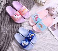 Wholesale boys home slippers for sale - Group buy Rainbow Unicorn Sandals Kids Indoor Slippers Toddler Summer Boys Girls Home Flip Flops Children Bathroom Shoes Beach Wear Slippers D62306