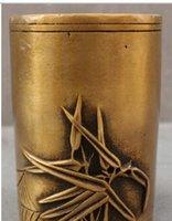 sculpture chinoise antique en bambou achat en gros de-Livraison GratuiteChinois Bronze Sculpté En Bambou Oiseau Araignée Statue Brosse Pot Tonneau Crayon Vase