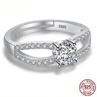 Wholesale american diamond adjustable rings resale online - Solid Real Sterling Silver Rings With mm CZ Diamond for Women Matching Rings Adjustable Ring Jewelry Gift XR241