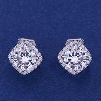 Wholesale square hoop earrings for women resale online - 2 Colors Cubic Zirconia Crystal Earrings Round Square Classic Hoops Earrings for Women Ladies