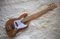 natürliche holzfarbe e-gitarre großhandel-Fabrik Benutzerdefinierte natürliche Holz Farbe E-Bass Gitarre mit 5 Saiten, White Pearl Pickguard, Chrome Hardware, hohe Qualität, kann angepasst werden